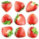 Aardbei. Vruchten op wit. Inzameling stock foto's