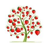 Aardbeiboom voor uw ontwerp Stock Afbeeldingen