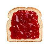 Aardbeidomeinen op Brood Royalty-vrije Stock Foto's