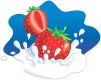 Aardbeien die in melk bespatten Stock Foto's