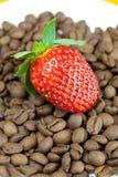 Aardbeien die op een achtergrondkoffiebonen liggen Royalty-vrije Stock Fotografie