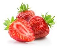 Aardbeien die op een witte achtergrond worden geïsoleerd Stock Foto's