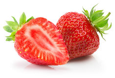 Aardbeien die op een witte achtergrond worden geïsoleerd Royalty-vrije Stock Foto's