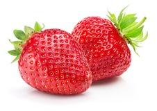 Aardbeien die op een witte achtergrond worden geïsoleerd Stock Foto