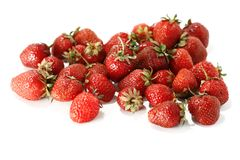 Aardbeien die op wit worden geïsoleerda Stock Afbeeldingen