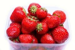 Aardbeien in een container voor verkoop Royalty-vrije Stock Fotografie