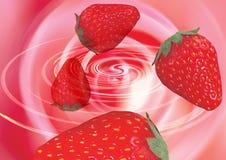 Aardbeien in een draaikolk Stock Foto