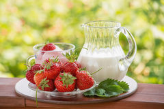 Aardbeien, een kruik melk en yoghurt op een groene achtergrond Stock Afbeelding