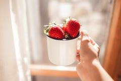Aardbeien in een witte emailmok en één hand royalty-vrije stock afbeeldingen