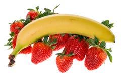 Aardbeien en banaan Royalty-vrije Stock Fotografie