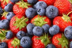 Aardbeien en Bosbessen Stock Foto's