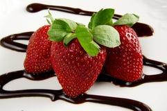 Aardbeien en chocolade Stock Fotografie