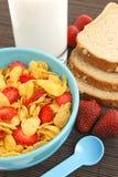 Aardbeien en cornflakes Royalty-vrije Stock Fotografie