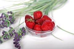 Aardbeien en Lavendel royalty-vrije stock fotografie