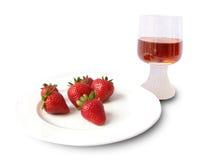 Aardbeien en wijn Stock Foto's