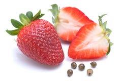 Aardbeien, groene paprika Stock Afbeelding