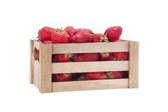 Aardbeien in houten doos Royalty-vrije Stock Fotografie