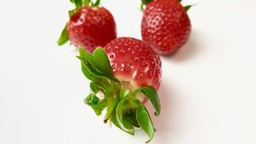 Aardbeien in macromening stock foto