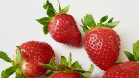 Aardbeien in macromening stock afbeelding