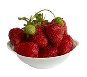 Aardbeien met één green in de vaas Royalty-vrije Stock Foto's