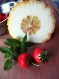 Aardbeien, munt en ceder Royalty-vrije Stock Fotografie