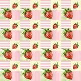Aardbeien naadloos patroon met mooie achtergrond met pastelkleuren Stock Foto