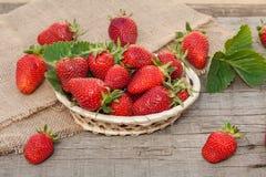 Aardbeien op een houten achtergrond Stock Foto