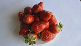 Aardbeien op een plaat stock video