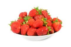 Aardbeien op een plaat Stock Afbeelding