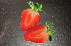 Aardbeien op ijs Stock Fotografie