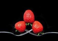 3 aardbeien op 2 vorken Royalty-vrije Stock Foto's