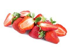 Aardbeien op witte achtergrond Stock Afbeelding