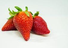 3 aardbeien op witte achtergrond, Stock Fotografie