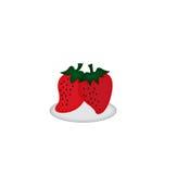 Aardbeien op witte achtergrond, illustratie Royalty-vrije Stock Foto's