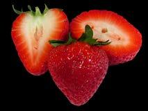 Aardbeien op Zwarte Royalty-vrije Stock Fotografie