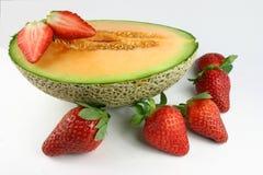 Aardbeien Rockmelon stock afbeeldingen