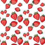 Aardbeien vectorpatroon op wit wit als achtergrond vector illustratie
