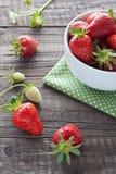 Aardbeien in witte kom Royalty-vrije Stock Foto's