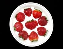 Aardbeien in Yoghurt 1 Stock Afbeeldingen