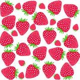 Aardbeienpatroon Zoete aardbeien op witte achtergrond Stock Fotografie