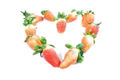 Aardbeienvorm van hart Stock Fotografie