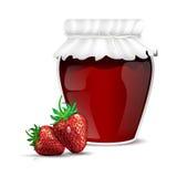 Aardbeimarmelade in een kruik en verse aardbeien Stock Fotografie