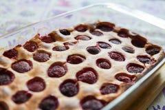 Aardbeipastei uit de oven Verse die aardbeipastei in oven wordt gebakken Zoet eigengemaakt gebakje met vruchten in vorm Vegetaris stock afbeelding