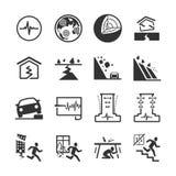 Aardbeving en de geologie de pictogrammen plaatsen 2 royalty-vrije illustratie