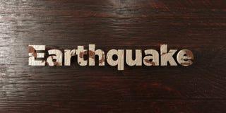 Aardbeving - grungy houten krantekop op Esdoorn - 3D teruggegeven royalty vrij voorraadbeeld stock illustratie