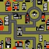 Aardbeving in naadloos patroon Stedelijke vernietigde structuren Brand royalty-vrije illustratie