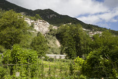 Aardbevingsschade in Pescaro del Tronto, Italië Stock Foto's