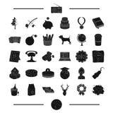 Aarde, alcohol, wapens en ander Webpictogram in zwarte stijl drank, reispictogrammen in vastgestelde inzameling Stock Fotografie