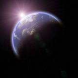 Aarde-als planeet op zwarte achtergrond Royalty-vrije Stock Fotografie