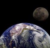 Aarde & Maan Royalty-vrije Stock Foto's